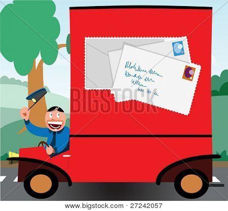 cartoon style postman in his delivery van
