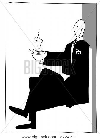 posh gentleman enjoys a cup of tea with his mp3 player keeping him entertained