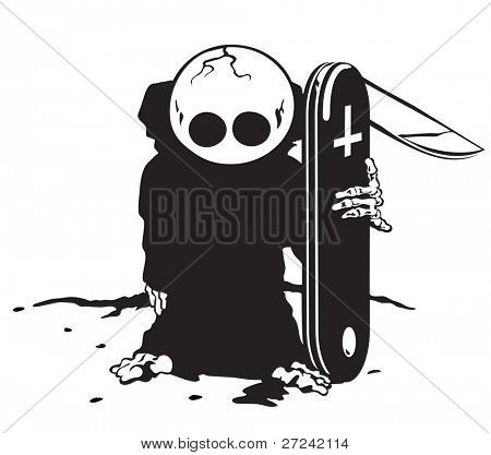 junior version of the Grim Reaper with pen knife instead of scythe