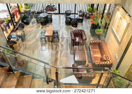 Bangkok, Thailand - November 22, 2018 : Interior Dessert Cafe At The M Cafe Location On Phuttha Buch