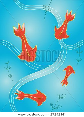 Four koi style fish circling in a stylized pond. This illustration is repeatable in a tile formation.