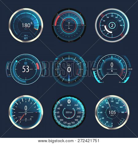 Set Of Isolated Auto Speedometers Or Truck, Lorry Odographs. Racing Vehicle Odometer Or Futuristic C