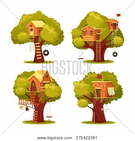 Set Of Isolated Kids House On Tree Or Children Home For Playing With Swing Tyre Or Tire Seesaw, Ladd