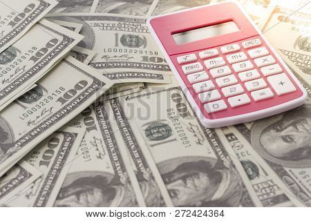 Calculator And Money. Concept Of Tax And Financial