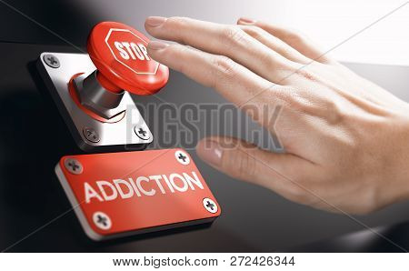 Woman Pressing A Panic Button With Stop Sign To Overcome Addiction Or Dependence Problems. Psycholog
