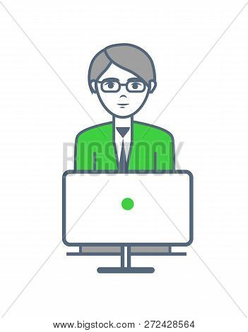 Male Smart Worker Working By Laptop Isolated Vector. Human Wearing Glasses And Looking At Screen Of