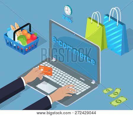 Electronic Commerce Buy And Sell Vector Man Typing On Notebook. Businessman Hand Holding Plastic Car