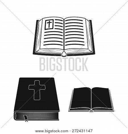 Vector Illustration Of Book And Christian Symbol. Collection Of Book And Holy Vector Icon For Stock.