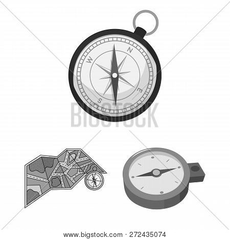 Vector Design Of Compass And Travel Sign. Collection Of Compass And Orientation Vector Icon For Stoc