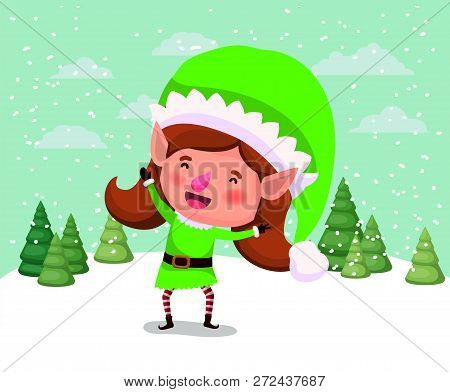 Cute Girl Santa Helper In The Snowscape Vector Illustration Design