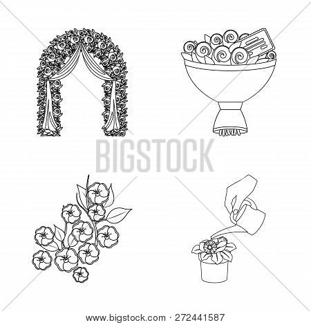 Vector Illustration Of Spring And Wreath Logo. Collection Of Spring And Blossom Vector Icon For Stoc