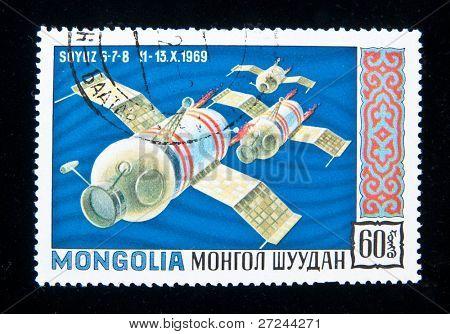 MONGOLIA - CIRCA 1965: A stamp printed in Mongolia shows the Soviet spaceship Soyuz-6, circa 1965
