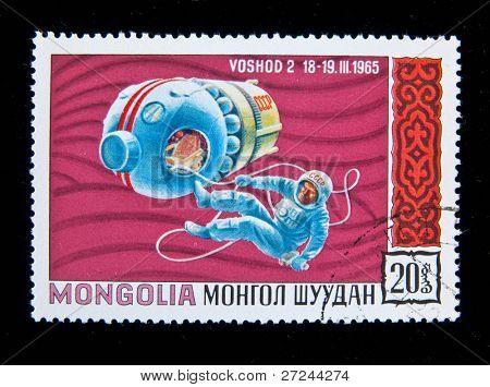 MONGOLIA - CIRCA 1965: A stamp printed in Mongolia shows the Soviet spaceship Voschod-2, circa 1965 Series
