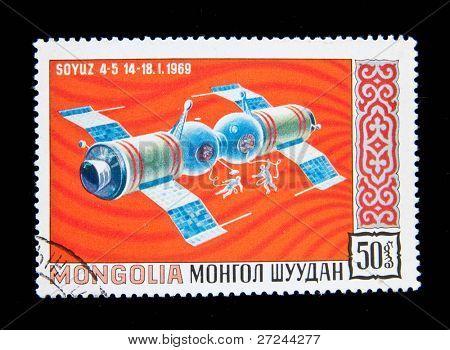 MONGOLIA - CIRCA 1965: A stamp printed in Mongolia shows the Soviet spaceship Soyuz-4, circa 1965 Series