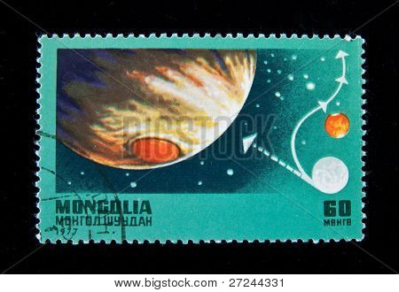 MONGOLIA - CIRCA 1977: A series of stamps printed in Mongolia is devoted an outer space exploration, circa 1977