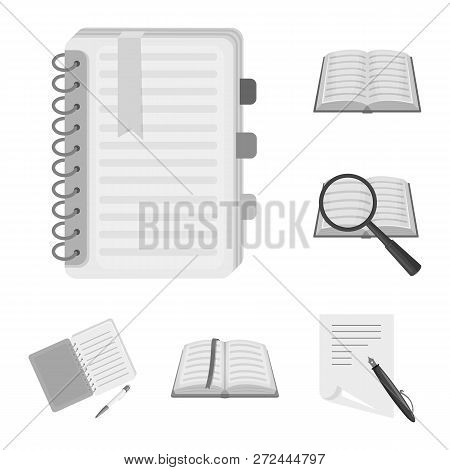 Vector Design Of Book And Open Icon. Set Of Book And Pencil Stock Symbol For Web.