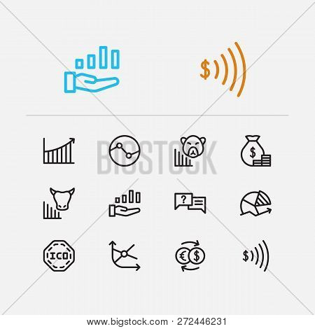 Financial Icons Set. Yield And Financial Icons With Stock Sector, Broker And Exchange. Set Of Animal