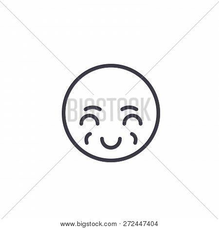 Sly Emoji Concept Line Editable Vector, Concept Icon. Sly Emoji Concept Linear Emotion Illustration