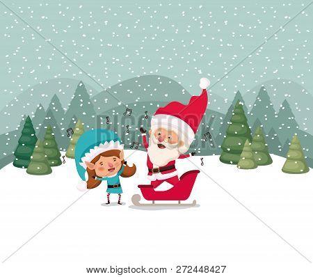 Santa Claus And Girl Helper In Snowscape Vector Illustration Design