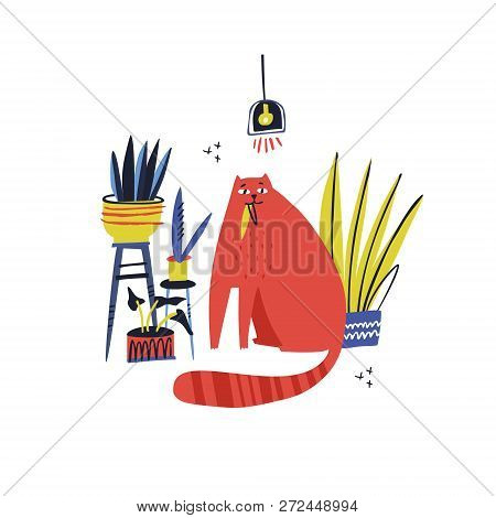 Guilty Cat Color Hand Drawn Vector Character. Naughty Cat Eating House Plant Flat Clipart. Cute And