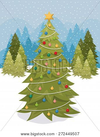 Christmas Pine Tree In The Snowscape Vector Illustration Design