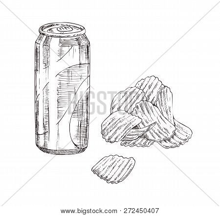 Fast Food Icons Set In Sketch Style. Crispy Wavy Potato Chips And Soda Can Monochrome Hand Drawn Ill