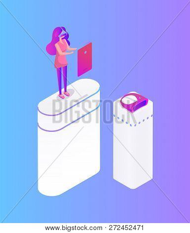 Girl Play Video Game In Glasses Virtual Reality Cartoon Vector Banner. Teenager Wearing Headpiece St