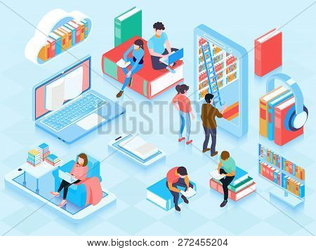 Online Library Isometric Elements Composition With People Reading Ebooks On Laptop Home Cloud Storag