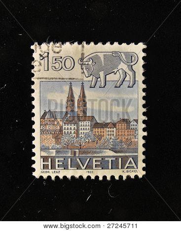 HELVETIA (SWITZERLAND) - CIRCA 1984: A Stamp printed in the HELVETIA shows Signo  Taurus, circa 1984.