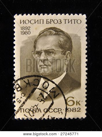 USSR - CIRCA 1982: A Stamp printed in the USSR shows portrait of the Yugoslav President Josip Broz Tito , circa 1982.