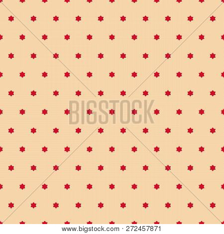 Vector Minimalist Seamless Pattern. Simple Red And Beige Texture With Tiny Stars, Floral Shapes. Abs