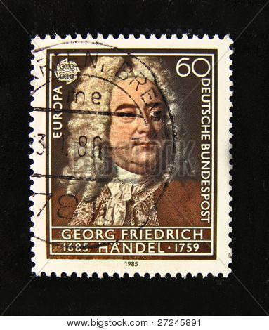 GERMANY - CIRCA 1985: A Stamp printed in the GERMANY shows portrait of the composer George Handel, circa 1985.
