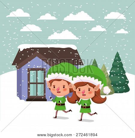 Couple Santa Helpers In Snowscape Vector Illustration Design