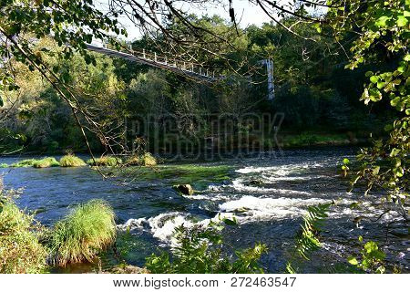 Bridge Over A River In A Forest. Autumn Colours, Exuberant Vegetation, Water, Rocks And Stream With