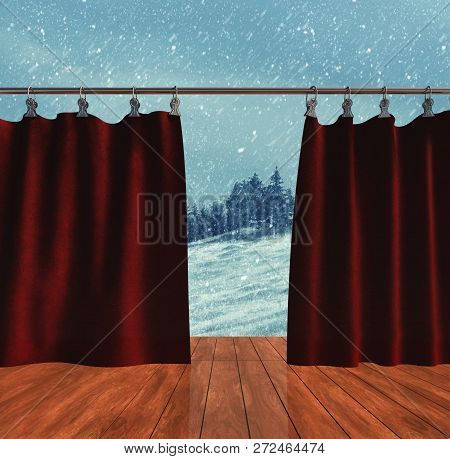 Opened Drapes To The Winter. The Concept Of Season Change.