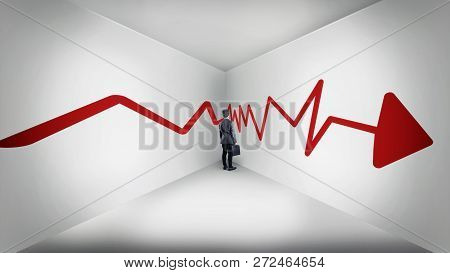 Businessman Standing At Corner Of A White Room Following A Red Arrow. The Concept Of Stucked.