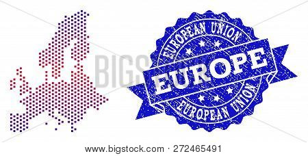 Geographic Combination Of Dotted Map Of Euro Union And Grunge Seal. Mosaic Vector Map Of Euro Union