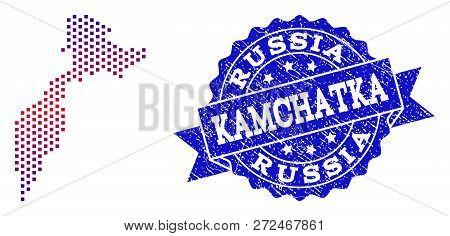 Geographic Collage Of Dotted Map Of Kamchatka Peninsula And Grunge Seal. Mosaic Vector Map Of Kamcha