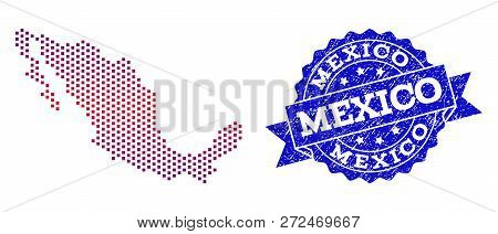 Geographic Combination Of Dotted Map Of Mexico And Grunge Seal Stamp. Mosaic Vector Map Of Mexico Cr