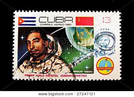 CUBA - CIRCA 1980: A stamp printed in Cuba shows cosmonaut Armaldo Tamayo, stamp from series honoring Intercosmos program, circa 1980. Big space series