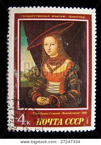 USSR- CIRCA 1987: A stamp printed in the USSR shows draw by artist Lucas Cranach the Elder Portrait of a Lady, circa 1987