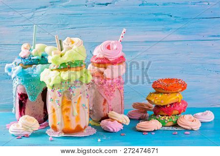 Freakshakes with donuts and candy floss