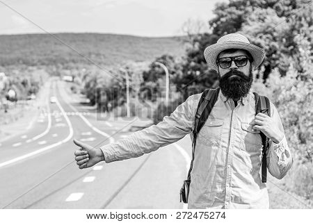 Hitchhiker With Special Gesture. Man Try Stop Car Thumb Up. Hitchhiking One Of Cheapest Ways Traveli