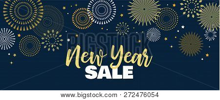 Sale Banner Background For New Year Shopping Sale. Happy New Year Sale Lettering On Sky Full Of Gold