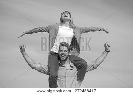 Couple In Love Enjoy Feeling Freedom Outdoor Sunny Day. Couple Happy Date Having Fun Together. Lover