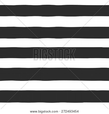 Seamless Vector Pattern Hand Drawn Horizontal Blocks, Stripes, Lines. Monochrome Abstract Background