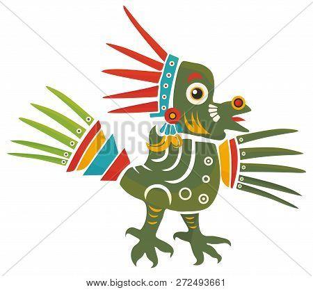 Aztec Codex Borbonicus Art Imitation Vector Illustration. Tribal Native Mexican American Bird Feathe