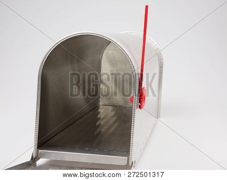 Empty Open Mailbox Isolated On Grey Background
