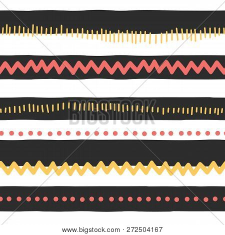 Seamless Vector Pattern Abstract Horizontal Lines, Zigzag, Dots, Stripes. Red And Yellow Doodles On