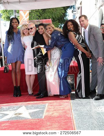 LOS ANGELES - DEC 4:  Dominique Jackson, Light, Ryan Murphy, Indya Moore, Leakes, Bassett, Peter Krause at the Ryan Murphy Star Ceremony on the Hollywood WOF on December 4, 2018 in Los Angeles, CA